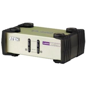 ATEN CS82U 2-Port PS/2-USB KVM Switch  2x Custom KVM Cable sets  Non-powered