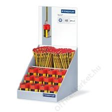 STAEDTLER Grafitceruza és hegyező display, HB, hatszögletű, egylyukú, tartályos, 144+12 db, STAEDTLER Noris (TS120CAS1) színes ceruza
