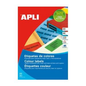 APLI APLI 210x297mm színes sárga 20db/cs | Színes etikettek