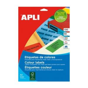APLI APLI 210x297mm színes piros 100db/cs   Színes etikettek