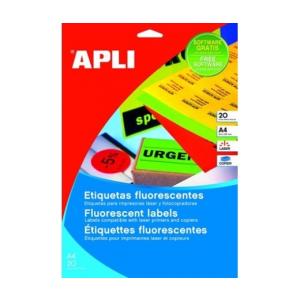 APLI APLI 210x297mm színes neon sárga 20db/cs | Színes etikettek
