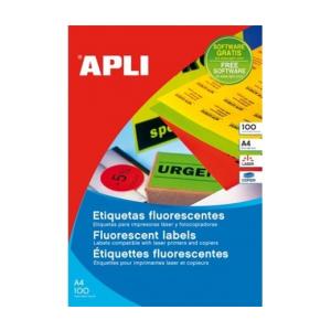 APLI APLI 210x297mm színes neon narancs 100db/cs | Színes etikettek