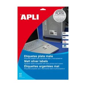 APLI APLI 63,5x29,6mm vízálló kerekített ezüst 540db/cs | Poliészter etikettek