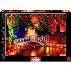 Educa Educa 1500 db-os puzzle - Tűzijáték a Rialto-híd felett (15531)
