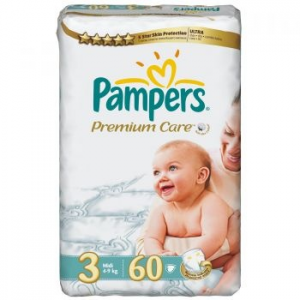 Pampers Premium Care 3 Midi Value Pack pelenka, 60 db (4015400274780)