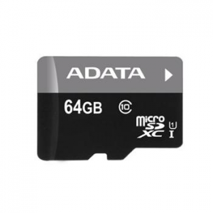 A-Data Micro SDXC  - mier 64GB + SD adapter, UHS-I, Class 10   - 30 MB/s