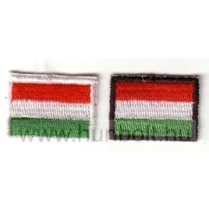 Felvasalható fekete keretes piros-fehér-zöld matrica 3x2 cm
