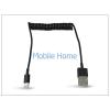 Haffner Apple iPhone 5/5S/5C/iPad 4/iPad Mini Ligthning USB töltő- és adatkábel spirál vezetékkel - fekete