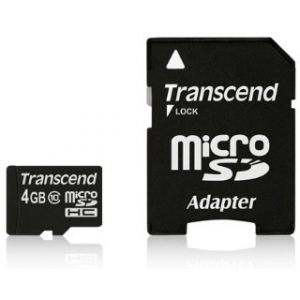 Transcend Micro SDHC 4GB Class 10 memóriakártya + adapter 20MB/s Full HD (TS4GUSDHC10)