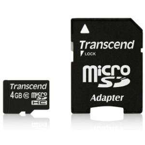 Transcend Micro SDHC 4GB Class 10 memóriakártya + adapter 20MB/s Full HD (TS4GUSDHC10)
