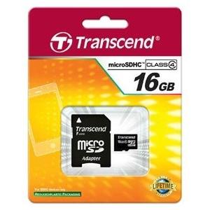 Transcend Micro SDHC 16GB Class 4 memóriakártya + Adapter (TS16GUSDHC4)