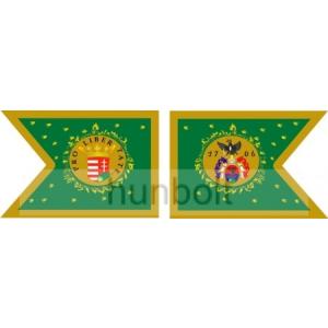 Kétoldalas Rákóczi zászló selyem anyagból 30x40 cm-es