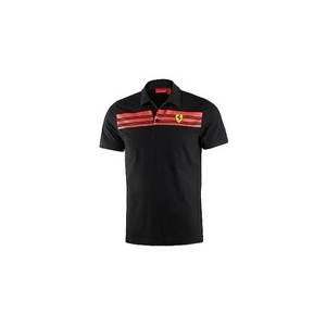SCUDERIA FERRARI MENS STRIPED POLO BLACK - M