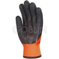 Euro Protection Bélelt PVC fluo narancs védõkesztyû, 25 cm, fekete Coral típusú érdesítés a tenyéren