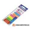 Jelölőcímke, műanyag, címke és nyíl forma, 8x25 lap, 12x45/42 mm, DONAU, neon szín (D7579)