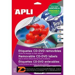 """Etikett, CD/DVD, A4, teljes lefedettségű, matt, eltávolítható, APLI """"Mega"""" (LCA10807)"""