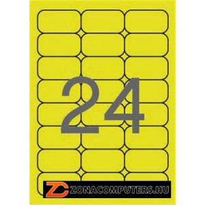 Etikett, 64x33,9 mm, színes, kerekített sarkú, APLI, neon sárga, 480 etikett/csomag (LCA2870)