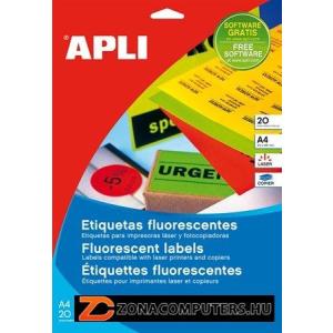 Etikett, 99,1x139 mm, színes, kerekített sarkú, APLI, neon piros, 80 etikett/csomag (LCA12997)
