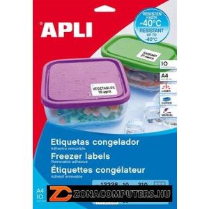 Etikett, 63,5x38,1 mm, fagyasztható, kerekített sarkú, APLI, 210 etikett/csomag (LCA12328)