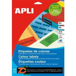 Etikett, 105x148 mm, színes, APLI, sárga, 80 etikett/csomag (LCA12991)