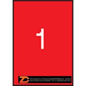 Etikett, 210x297 mm, színes, APLI, piros, 100 etikett/csomag (LCA11840)