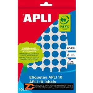 Etikett, 16 mm kör, kézzel írható, színes, APLI, kék, 432 etikett/csomag (LCA2739)