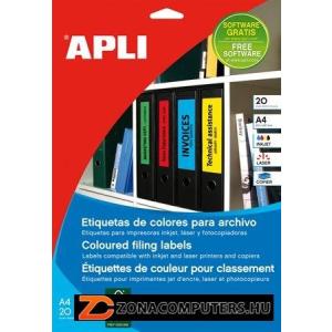 Etikett, 190x61 mm, színes, APLI, zöld, 80 etikett/csomag (LCA1377)
