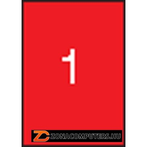 Etikett, 210x297 mm, színes, APLI, neon piros, 100 etikett/csomag (LCA11749)