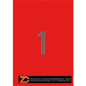 Etikett, 210x297 mm, színes, APLI, piros, 20 etikett/csomag (LCA1601)