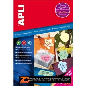 Etikett, 210x297 mm, színes, APLI, pasztell rózsaszín, 20 etikett/csomag (LCA11846)