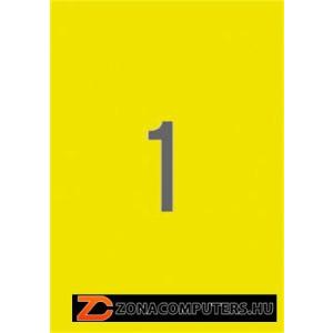 Etikett, 210x297 mm, színes, APLI, neon sárga, 100 etikett/csomag (LCA11747)