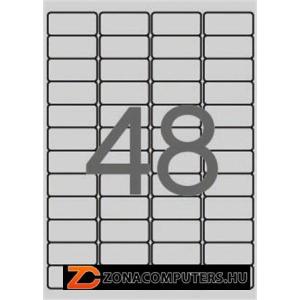 Etikett, 45,7x21,2 mm, poliészter, időjárásálló, kerekített sarkú, APLI, ezüst, 960 etikett/csomag (LCA10066)