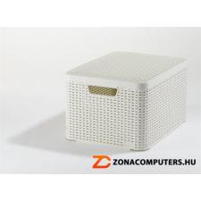 Rattan hatású kosár tetővel, 30l, törtfehér, CURVER (CSCR30B) papírárú, csomagoló és tárolóeszköz