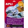 Etikett, CD/DVD, A4, teljes lefedettségű, fényes, fotó minőségű, APLI