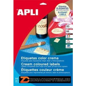 Etikett, 97x67,7 mm, színes, APLI, krémszínű, 160 etikett/csomag (LCA11801)