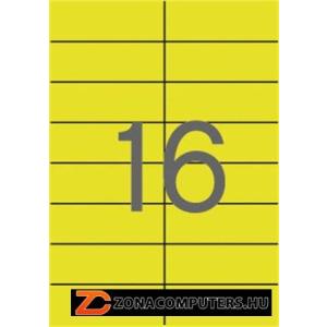Etikett, 105x37 mm, színes, APLI, sárga, 1600 etikett/csomag (LCA12976)