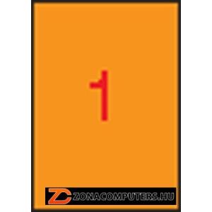 Etikett, 210x297 mm, színes, APLI, neon narancs, 100 etikett/csomag (LCA11748)