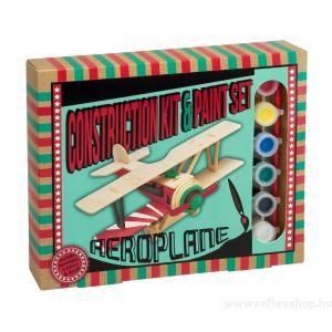 Professor Puzzle Repülőgép Professor Puzzle fa építő szett, festékkel