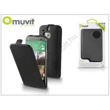 Muvit HTC ONE (M8) flipes tok képernyővédő fóliával - Muvit Slim - black tablet tok