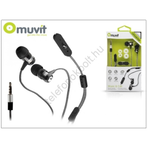 Muvit univerzális sztereó felvevős fülhallgató - 3,5 mm jack - Muvit Music and Call - black/white