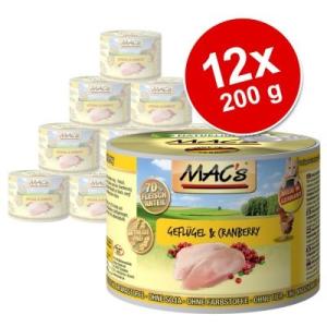 MAC's MAC´s Cat gazdaságos csomag 12 x 200 g - Szárnyas & áfonya