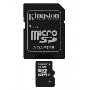 Memóriakártya, Micro SDHC, 16GB, Class 10, adapterrel, KINGSTON (MKMS16GHA)
