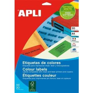 Etikett, 210x297 mm, színes, APLI, zöld, 20 etikett/csomag (LCA1602)