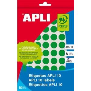 Etikett, 10 mm kör, kézzel írható, színes, APLI, zöld, 1008 etikett/csomag (LCA2733)