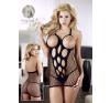 Lyukacsos, hálós szexmini - fekete fantázia ruha