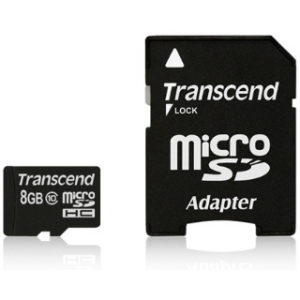 Transcend Micro SDHC 8GB Class 10 memóriakártya + adapter ( 20MB/s / Full HD )