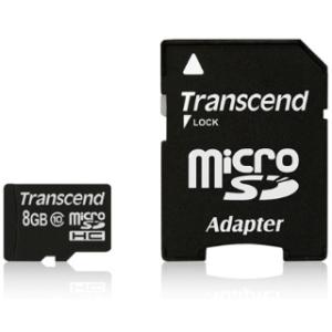Transcend Micro SDHC 8GB Class 10 memóriakártya + adapter ( 20MB/s  /  Full HD )