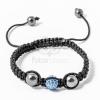 Shamballa karkötő 1 kristály + 2 csakragolyó kék jwr-1537