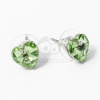 Ezüst bevonatos szivecske beszúrós fülbevaló zöld jwr-1254
