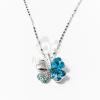 Fehérarany bevonatos nyaklánc lóhere medállal - kék jwr-1099